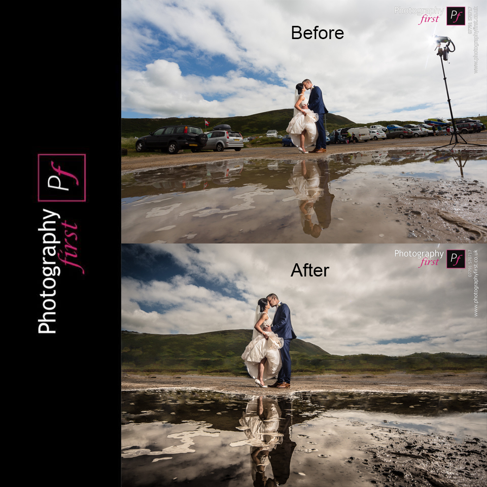 Before and after wedding photography